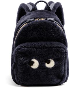 Eyes Shearling And Leather Backpack