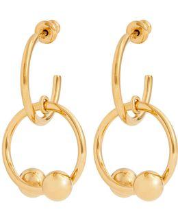 Double-sphere Gold-plated Hoop-drop Earrings