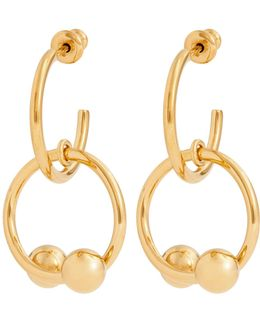 Double-sphere Gold-plated Hoop-drop Earrings