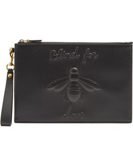 Bee-embossed Leather Pouch