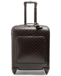 Logo-debossed Leather Suitcase