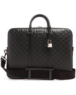 Logo-debossed Leather Briefcase