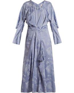Floral-jacquard Draped Satin Dress