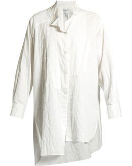 Oversized Asymmetric Cotton-poplin Shirt
