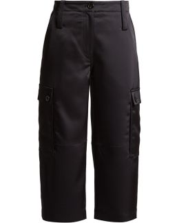 Cropped Satin Cargo Trousers