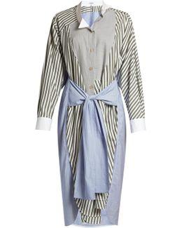 Contrast-panel Striped Shirtdress