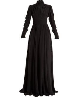 High-neck Silk Gown