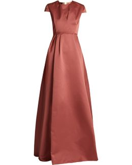 Round-neck Duchess-satin Gown