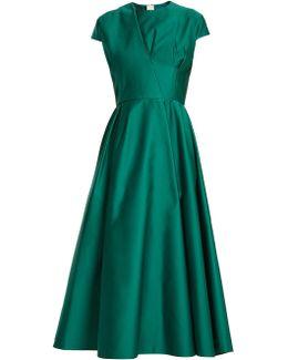 Capped-sleeve Duchess-satin Dress