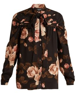 Rose-print Tie-neck Silk-charmeuse Top