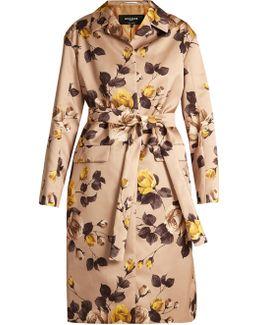 Belted Rose-print Satin Coat