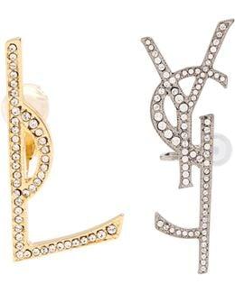 Crystal-embellished Logo Earrings