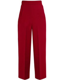 Ward High-rise Wool-crepe Cropped Trousers