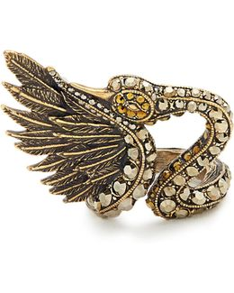 Crystal-embellished Swan Ring