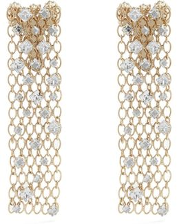 Crystal-embellished Chain Clip-on Earrings