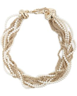 Twisted Faux-pearl And Chain Necklace