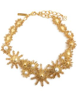 Faux-pearl Embellished Sun-star Necklace