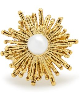 Faux-pearl Embellished Sun-star Ring