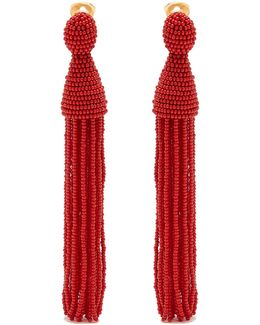 Bead-embellished Tassel-drop Clip-on Earrings