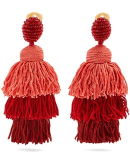 Tiered Tassel-drop Clip-on Earrings