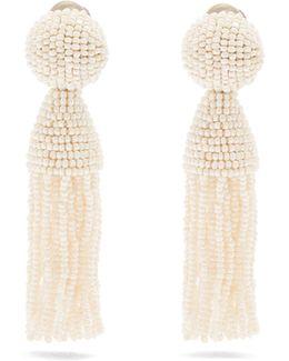 Bead-embellished Tassel-drop Clip-on Earrings
