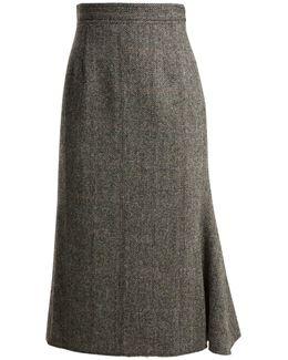 High-rise Checked-herringbone Wool Skirt