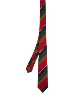Striped Cashmere And Silk Tie