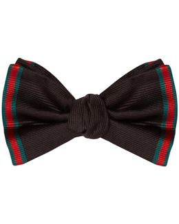 Web-striped Silk Bow Tie