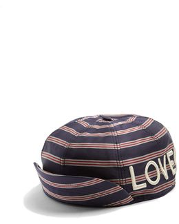 Embroidered Striped Satin Cap