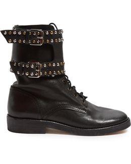 Étoile Teylon Stud-embellished Leather Ankle Boots