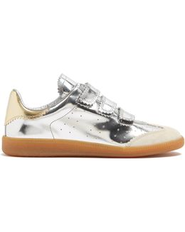 Beth Pinked-edge Low-top Leather Trainers