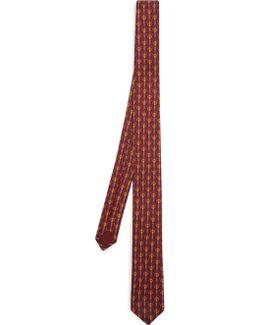 Skier-print Skinny Silk-twill Tie