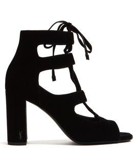 Loulou Lace-up Velvet Sandals