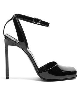 Edie Square-toe Patent-leather Sandals