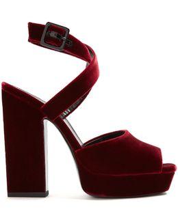 Debbie Platform-heel Velvet Sandals