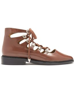 Polido Lace-up Leather Flats