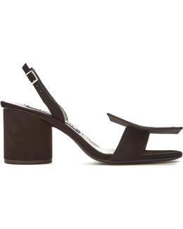 Sculptured-heel Suede Sandals