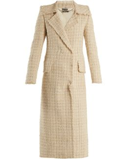 Double-breasted Checked Tweed Coat