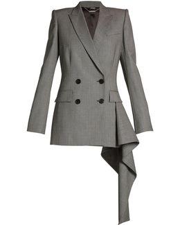 Asymmetric-drape Double-breasted Jacket