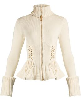 Lace-up Side Wool Knit Cardigan