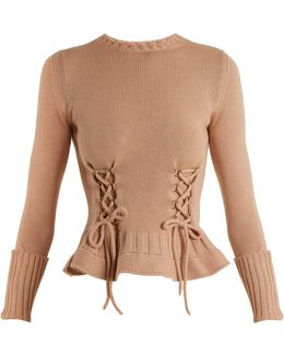 Lace-up Fluted-hem Wool-knit Sweater