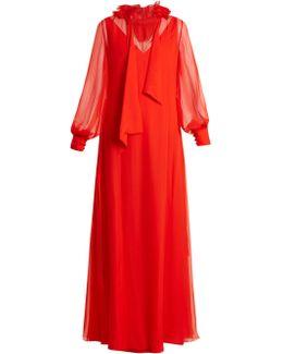Ruffled-collar Waist-tie Silk-mousseline Gown