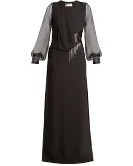 V-neck Draped-front Satin-back Crepe Gown