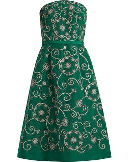 Swirl-embroidered Strapless Silk Dress