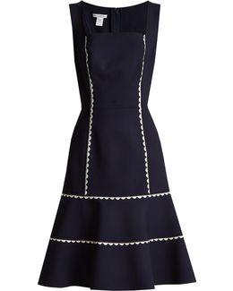 Ric-rac Trimmed Wool-blend Crepe Dress