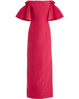 Off-the-shoulder Silk-faille Gown