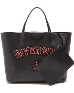 Antigona Logo And Star-appliqué Leather Tote