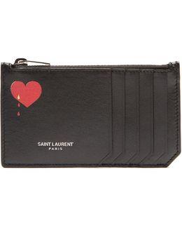 Fragments Heart-print Leather Cardholder