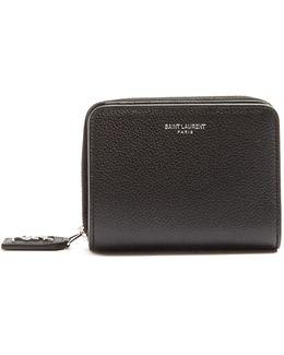 Zip-around Grained-leather Wallet