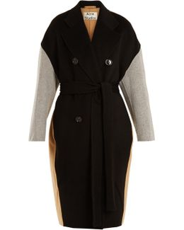 Cales Colour-block Double-breasted Wool-blend Coat